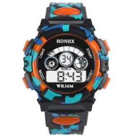 新品 送料込み HONHX 迷彩カモフラ 防水キッズ子供用アウトドア腕時計
