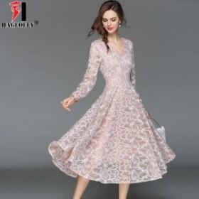 パーティー ドレス 花柄 レース ロング丈 Vネック 結婚式 韓国 20代 30代 40代 大きいサイズ 二次会 フォーマル お呼ばれ