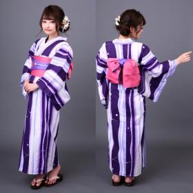 浴衣 - MINE CUBE 浴衣+半幅帯+桐下駄 3点セット 紫水に蛍