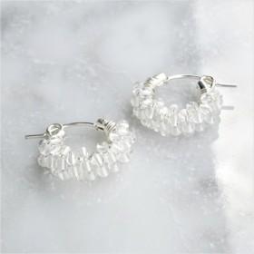 送料無料 SV925SFCrystal Quartz pavé pierced earringSS