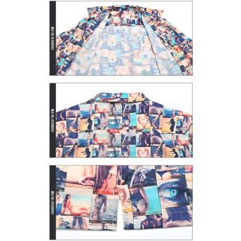シャツ - LUXSTYLE オープンカラーシャツ メンズ 半袖 開襟 ガールズプリント リゾート 夏 BITTERビター系【ガールズフォトプリントオープンカラーシャツ】シャツ 半袖シャツ オープンカラー 海 ビーチ レトロ 西海岸 プリントサーフ系 アメカジ SURF 羽織り