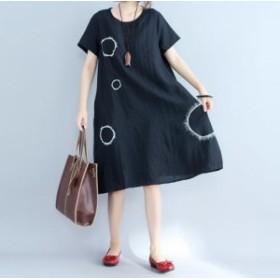 日系レディース ワンピース ひざ下丈 復古半袖ワンピース ワイシャツワンピ Aラインスカート スリム ゆったり ビックサイズ