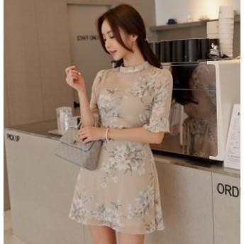 サマードレス 花柄のシフォンワードスカート