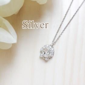 Silver◆クリスタルスワロフスキービジュー ネックレス