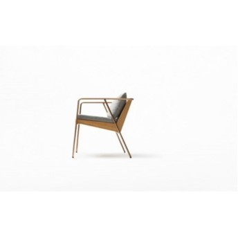 MASS Series Dining Chair-Natural Wood & Copper Frame