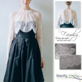 カーディガン レースカバー 長袖 大きいサイズ ホワイト ドレス飾り お出かけ ウエディング 花柄 ショート カバー 日常 薄手 結婚式