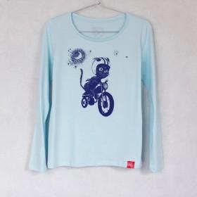 バイク女優 望月ミキ x Blue-lab コラボT  猫月夜  Lady's 長袖 blue x black