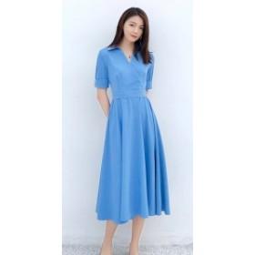 レディースファッション 秋新作 シルエットが美しい シフォンのロング丈ワンピース0053