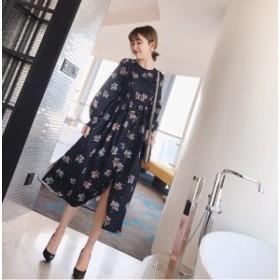 レディースファッション 秋新作 花柄 ひざ丈 通勤 オルチャン ファッション 韓国 ファッション オフィスカジュアル ワンピース