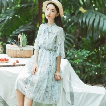 レディースファッション 秋新作 お嬢様系春の花柄レースワンピース