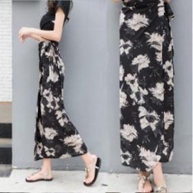 レディースファッション 秋新作 花柄パレオ風マキシ丈ラップスカート 5456