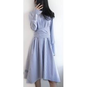 レディースファッション 秋新作 上品なストライプのシャツワンピース 0107
