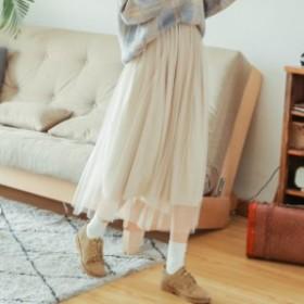 レディースファッション 秋新作 ロング丈 チュールスカート韓国 ファッション オルチャン ファッション レース フレア