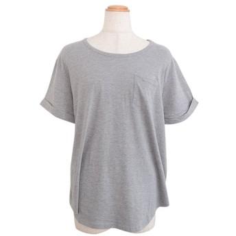 アンドジェイ ポケット付きラウンドカット半袖Tシャツ レディース グレー M 【ANDJ】
