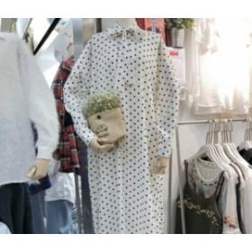 レディースファッション 秋新作 春におすすめ! 水玉模様の長袖ロングワンピース