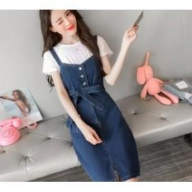 デニムストラップ 韓国 ファッション レディース オルチャン ファッション ワンピース