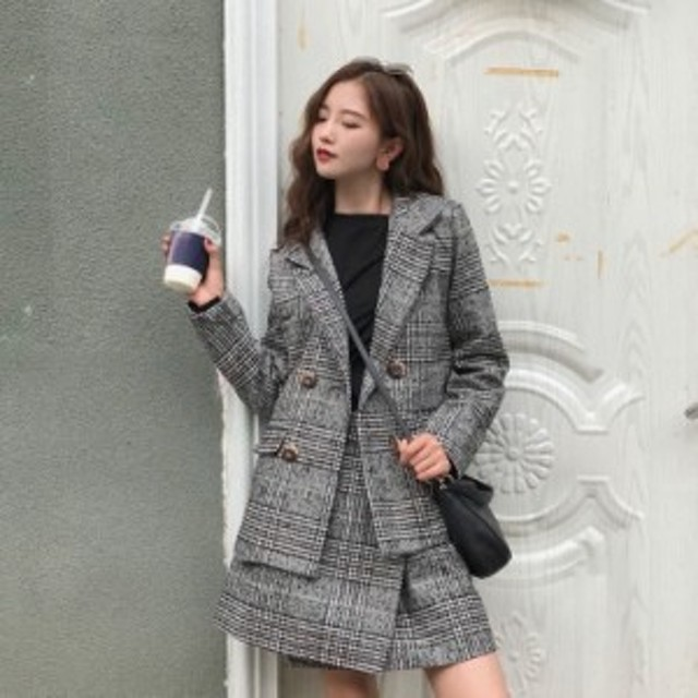 ファッション 秋新作 上品に着こなせるグレンチェックのミニスカートセットアップ 上下セットアップ大きいサイズスーツ 通勤に最適0812