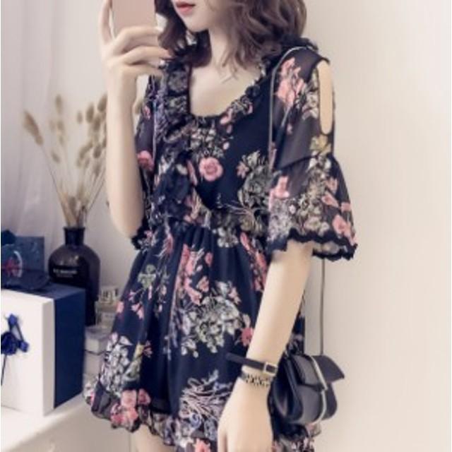 レディースファッション 秋新作 ショルダーカットが色っぽい 花柄フリルロンパース 真夏のデートに