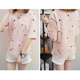Tシャツ - shoppinggo フリンジ Tシャツ 半袖 ドット カットソー クルーネック