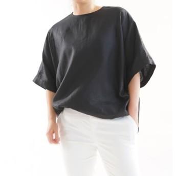 【wafu】薄地 リネンブラウス ビックサイズ Tシャツ 襟ぐり小さめ 背中ファスナー/ブラック t016c-bck1