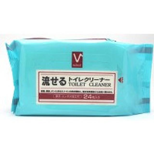 Vセレクト 流せるトイレクリーナー 24枚/ 掃除シート トイレ用 (応)
