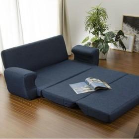 日本製 リクライニングソファーベッド ターコイズブルー