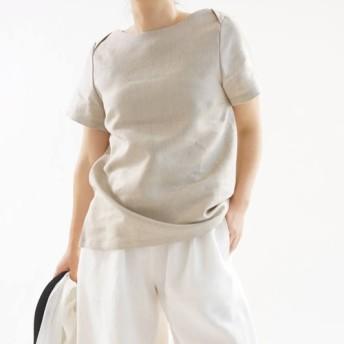 【wafu】中厚 リネンブラウス ボートネック Tシャツ 半袖 トップス/亜麻ナチュラル t003d-amn2