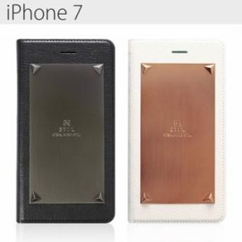 送料無料 iPhone7 スティール メタル 手帳型ケース ブラック ホワイト ゴールド カーキ カード収納 アイフォン7 セブン スマホケース