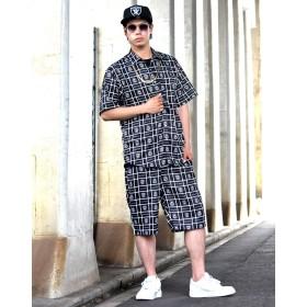 シャツ - Third enterprise セットアップ メンズ 大きいサイズ ブランド 夏 上下セット ロゴ アロハシャツ ハーフパンツ b系 ファッション ヒップホップストリート系