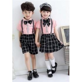 2点送料無料  子供学園制服イギリス風コスチュームダンスウェア 女の子 男の子上下セット コスプレ衣装
