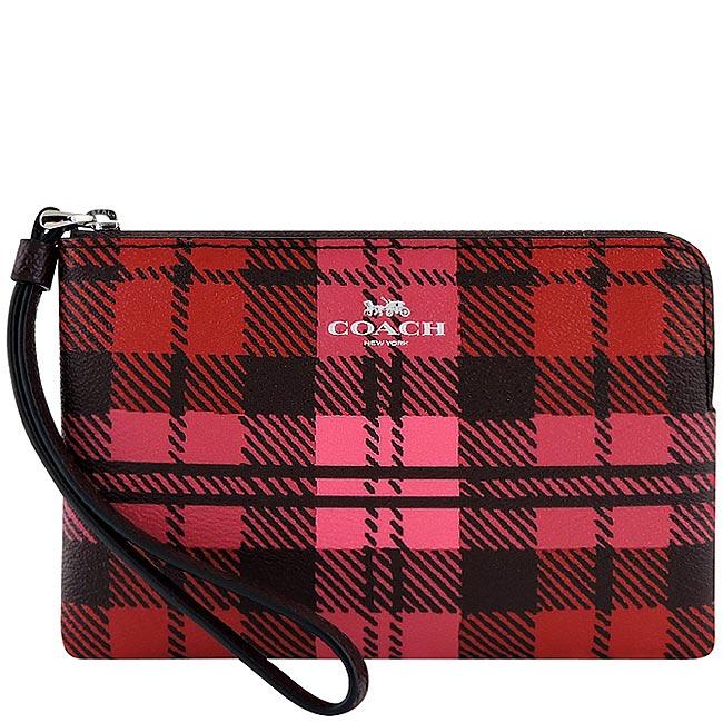 COACH 紅色方形格紋PVC手拿包零錢包