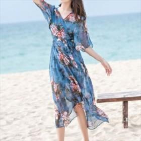 売れ筋  2019 ワンピース エレガント カシュクール フレア袖 インナードレス付き 大人ファッション しわにならない リボンベルト