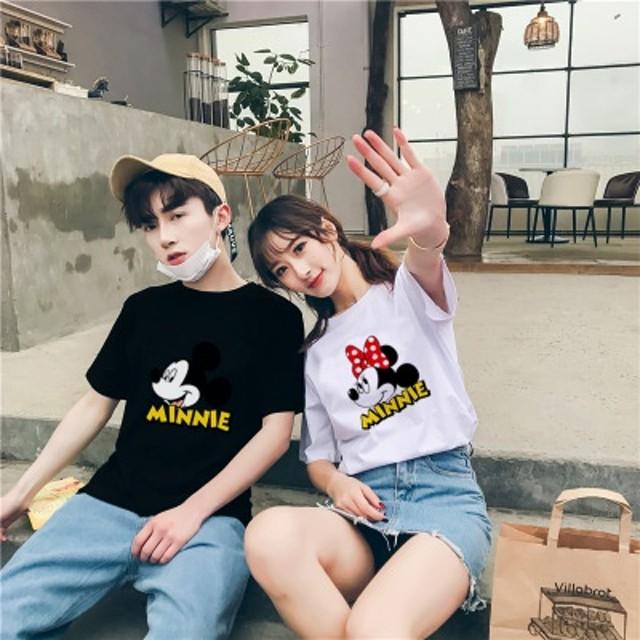 【7color】3月新更新 2019最安値に挑戦 綿100% ミッキーTシャツ 可愛いミニープリント★ペアルックカップルtシャツ 韓国ファッション レディース メンズお揃い