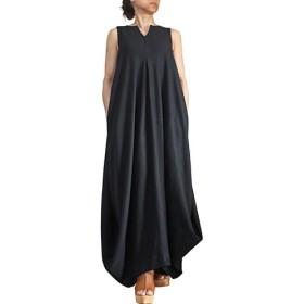柔らかヘンプのドレープドレス ノースリーブ 墨黒 (DNN-101-01)