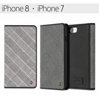 送料無料 iPhone8 iPhone7 スティール チェック柄 手帳型ケース ブラック レッド グレー iphone8ケース スマホケース スマホカバー