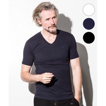 Tシャツ - SHIFFON 1PIU1UGUALE3 RELAX(ウノピゥウノウグァーレトレ) ベーシックVネックTシャツ(ホワイト/ネイビー/ブラック)