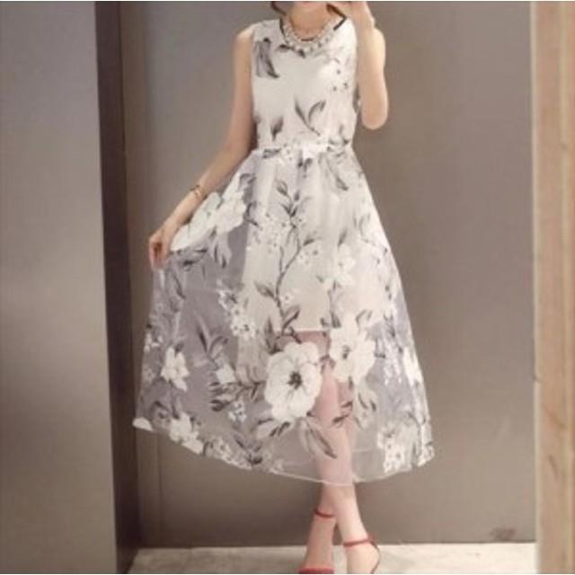 879200d1e74eb 2018 春夏の新作 ワンピース ドレス ノースリーブ 花柄 シースルー 透け感 ミモレ丈 ホワイト