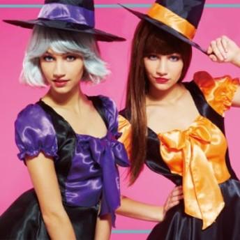 ≪Costume/Halloween≫デコリボン ウィッチ/魔女/オレンジ/パープル/ブラック/帽子/かわいい/コスプレ衣装/ハロウィンコスプレ