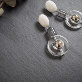 silver × clearring pierce、earring