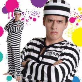 男女兼用 囚人衣装 囚人 囚人服 プリズナー 牢屋衣装 ボーダー 白黒 メンズ 大きいサイズ コスプレ コスチューム ハロウィン