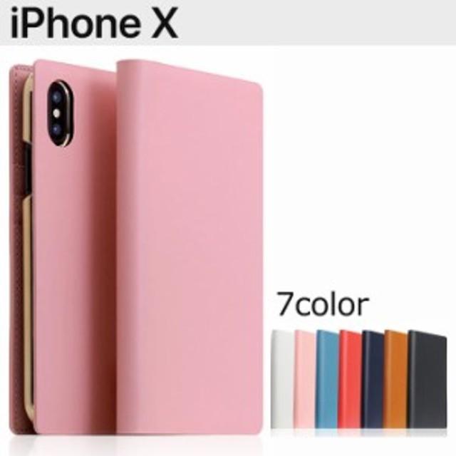 送料無料 iPhoneX SLG カーフスキン レザー 手帳型ケース 本革 メンズ 白 ピンク 紺 ブラウン 黒 カード収納 アイフォンX スマホケース