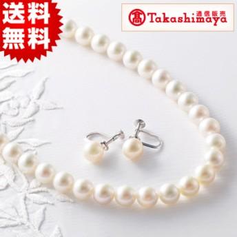 高島屋 大珠8-8.5mm珠 あこや真珠ネックレス(プリンセスサイズ)&イヤリングまたはピアスセット