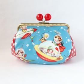 ぷっくり可愛い ラミネート がま口ポーチ レトロ USA 宇宙 UFO 赤水玉 コスメ 化粧品 プレゼント ゆめかわいい