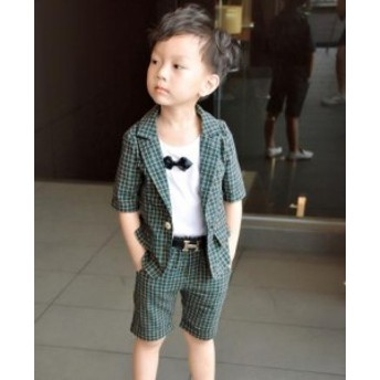 男の子 キッズ服スーツ+パンツ+半袖シャツ 3点セットアップ フォーマルスーツ テーラードジャケット 入園式 チェック柄