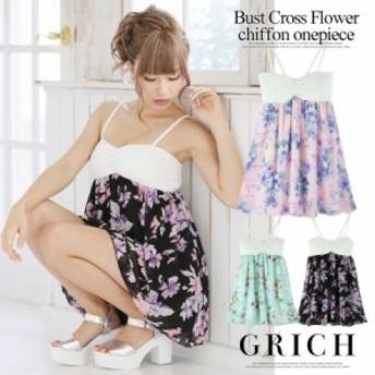 [ゆうパケット対応][春夏][ワンピース]花柄シフォンワンピ[GR150611A] ドレス