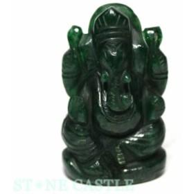 ☆置物一点物☆【天然石 彫刻置物】ガネーシャ インドアベンチュリン No.66 パワーストーン