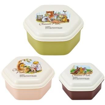 くまのプーさん お弁当箱 /  ふわっと盛れる入れ子式シール容器3Pセット 六角形 POOH クラシックプー カラー