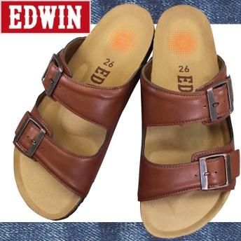 エドウィン EW9103 ダークブラウン メンズ サンダル フットベットサンダル コンフォートサンダル フラットサンダル シューズ 靴 EDWIN