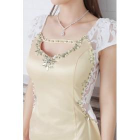 ドレス - Royal Cheaper 【amanda BLACK】【S.M】透け肌見せレース切替×谷間見せミニドレス(ベージュ)