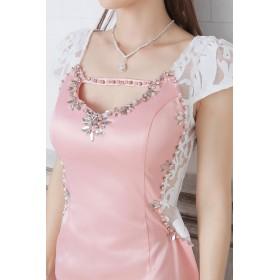 Royal Cheaper レース切替ドレス
